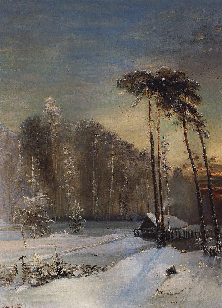 лес в инее 1890 г.